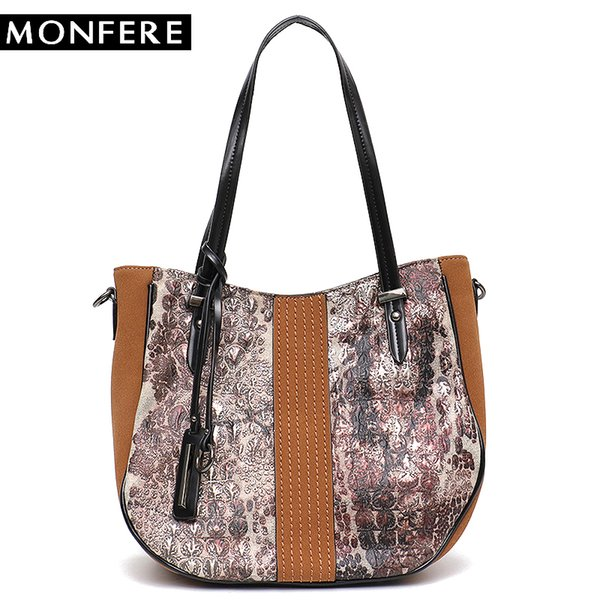 MONFERE Big Women Tote Shoulder Bag Fashion Girl Top-Handle Zip Pattern Trim Handbag Female Casual Vegan Leather Messenger Bags