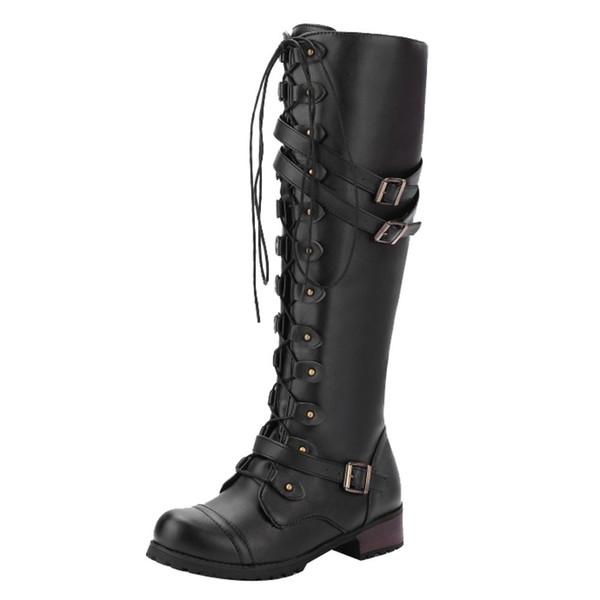 SAGACE Bayanlar Diz Yüksek Çizmeler Kare Platformu Çizmeler Kadın Punk Gotik Ayakkabı Çiviler Lace Up Rahat Büyük Boy 35-43