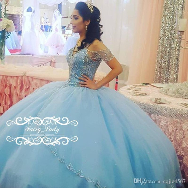 Cinderella Blue Off Shoulder Quinceanera Dresses With Sleeves Bling Crystal Major Beading 2019 New Puffy Ball Gown Long Sweet Pageant Party
