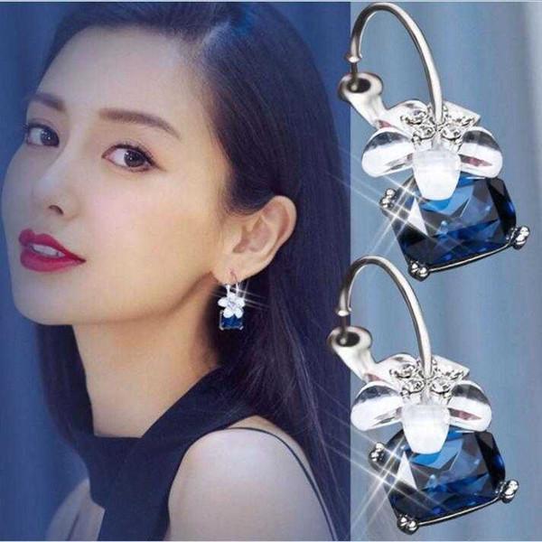 Lovely Earrings Tassel earring female trend earrings fashion Girls Bling Rhinestone butterfly Charm jewelry earrings for Valentine's gift