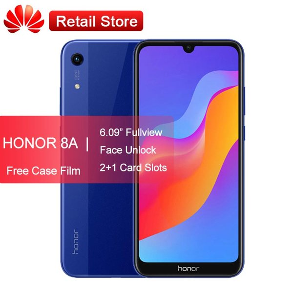 "Huawei Honor 8A Smartphone 6.09"" Fullview Mediatek MT6765 Octa Core Android 9 Face Unlock 2+1 Card Slot Dual Camera 4G Phone"