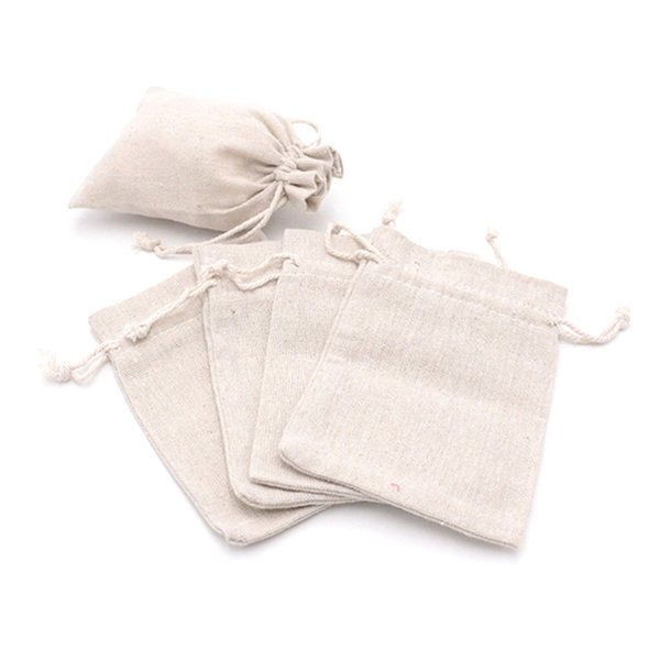 New Fashion 10x14cm 50Pcs/Lot Natural Color Cotton Bags For Jewelry Packaging Jewelry Bag Earrings Display Drawstring Pouch Logo