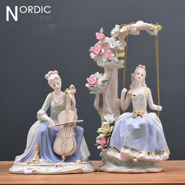 Western Female Home Decor Eurpoe High-grade Beauty Ceramic Figurines Art Crafts Coffee Bar Porcelain Ornament Wedding Decoration