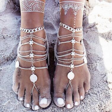 Sandalias descalzas Estiramiento Tobillera Cadena con Toe Ring Esclavo Tobilleras Cadena Retaile Sandbeach Boda Nupcial Dama de honor Joyas de pie 30 piezas