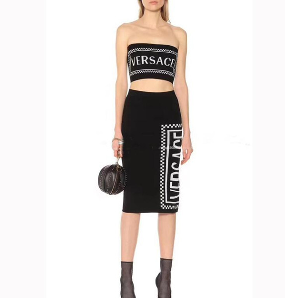 Women's Knits & Tees hot the latest luxurys brand women's sweater sets autumn and winter casual boob tube top + skirt 2pc size s-l