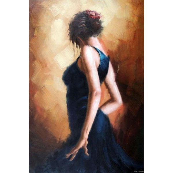 Art Gift beautiful girls oil paintings Spanish-Flamenco-Dancer-Oil-On-Canvas-Tall-24-X-36-Painting-Stretched-Free-Ship hand-painted bedroom