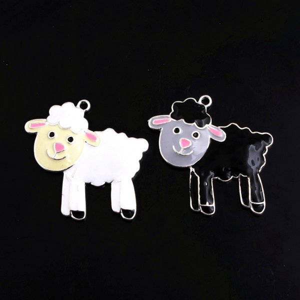 Doluo gioielli di moda 45 * 46mm 10 pz ciondoli in lega di zie pecore smalto perline collana che fa fascino braccialetto portachiavi
