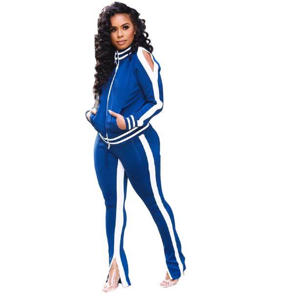 top popular Plus Size Casual 2 Piece Set Women Festival Clothing Front Zipper Long Sleeve Coat +Zipper Up Pencil Pant Fall Winter Sweatsuit 2020