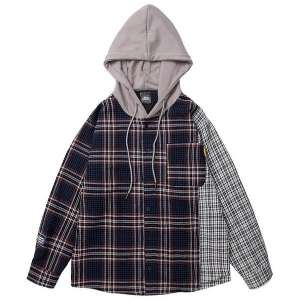 2019 Erkekler Hip Hop Kapşonlu Ceket Vintage Ekose Patchowrk Harajuku Ceket Hoodie Renk Bloğu Streetwear Ceketler Retro Tarzı Sonbahar