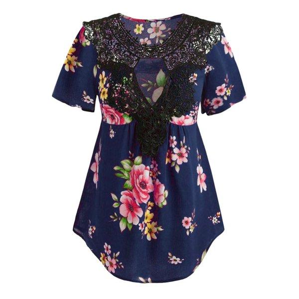 Femmes Tunique Shirt 2019 Automne À Manches Longues Imprimé Floral Col En V Blouses Et Hauts Avec Bouton Grande Taille Femmes Vêtements