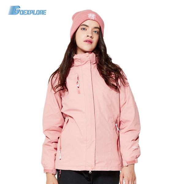 goexplore winter hiking jackets 3 in 1 brand women outdoor camping trekking ski sports coats waterproof double layer windbreaker