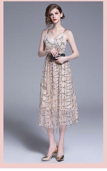 Женщины Шампанское Блестки Вечернее Платье Элегантные Дамы Midi Party Полное Платье Сексуальная V-образным Вырезом Дамы Без Рукавов Длинное Вечернее Платье Лето S M L