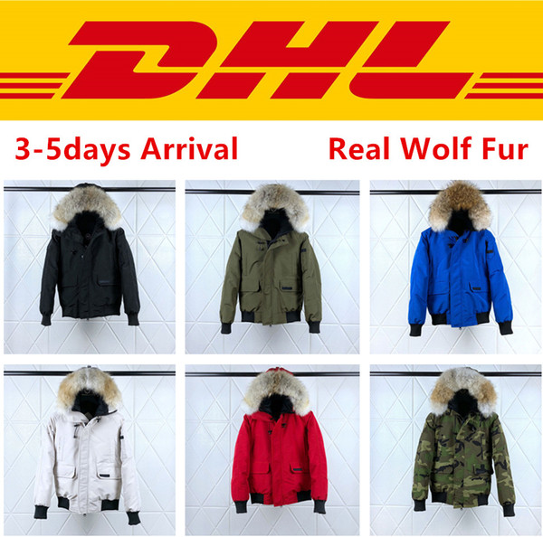 Canada goose Top Quality Canadá PBI CHILLIWACK BOMBER Parka homens reais Lobo pele do inverno Coats Designer Down Jacket XS-2XL # 01 winter jacket