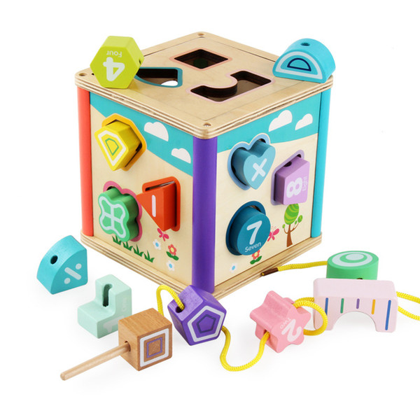 DIY Beads Toy Wooden block Chopping Block Wooden box Shape matching building blocks Baby Educational Wooden toy for kids gifts