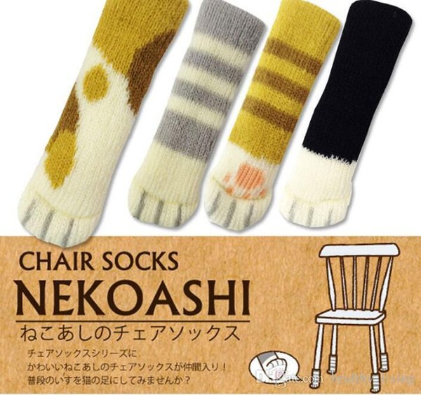 4Pcs /Set Cute Cat Paw Table Chair Foot Leg Knit Cover Protector Socks Sleeve Protector Good Scalability Non-Slip Wear 666