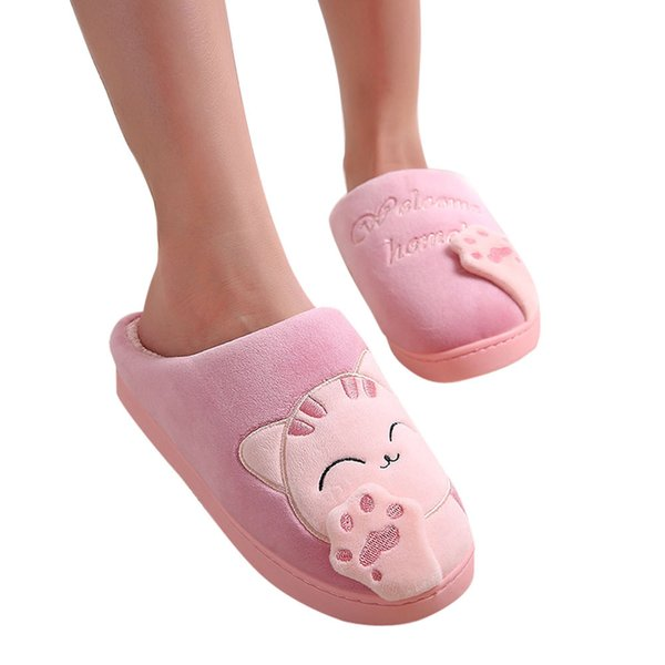 Women Winter Home Slippers Cartoon Cat Shoes Non-slip Soft Winter Warm House Slippers Indoor Bedroom Lovers Couples Floor Shoes