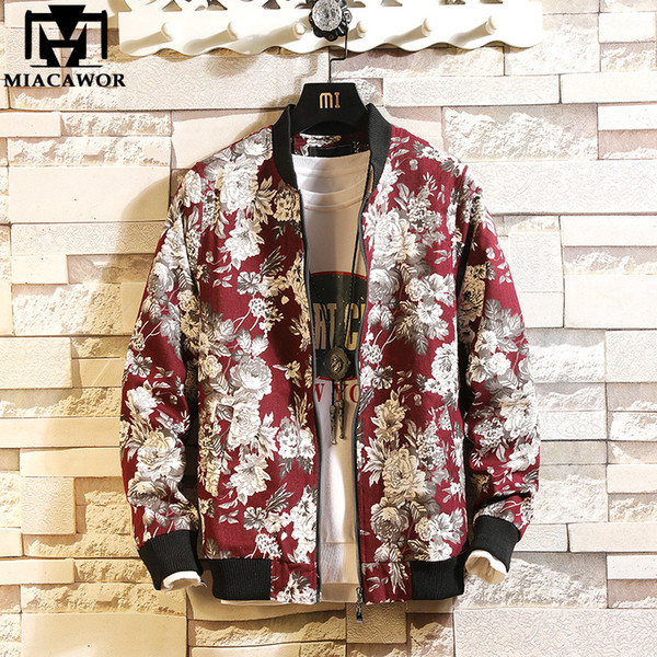 New Men Jacket Floral Print Bomber Jacket Spring Fashion Men Coats Zipper Jaqueta Masculina Outwear J606