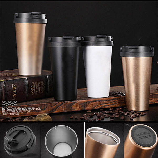 Double Wall Coffee Mug Leak-Proof Tumbler Stainless Steel Travel Cups 500Ml With Lid 4 Color Bar Kitchen Tools HH9-2100