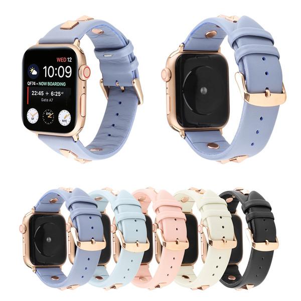 Dressy Designer Bling Rebites Studs Strap faixas de couro Compatível para Apple Watch iWatch Série 5, 4, 3, 2, 1, Mulheres Sports Edição