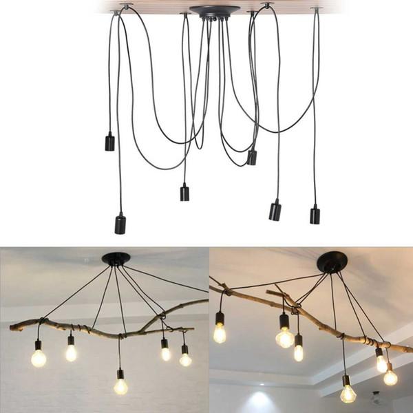 E27 6 cabezas Retro araña clásica araña lámpara colgante bombilla titular grupo Edison diy lámparas de iluminación linternas accesorios