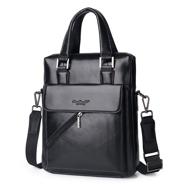 Genuine Leather Men's Briefcase Tote Messenger Shoulder Bag Travel Laptop bags for men Document Business Briefcase Male