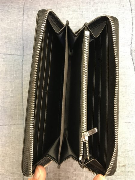 Luxury Casual Zipper Wallets Genuine Leather MB Purses with Box Black Brown Wallet Fashion Credit Card Holders Men Women Zipper Purse Wallet