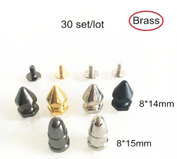 30 set Metal Bullet Rivet Studs 8*14mm / 8*15mm Screw In Rivet Brass DIY Spike Studs,Handbag Accessories,Leathercrafts Hardware