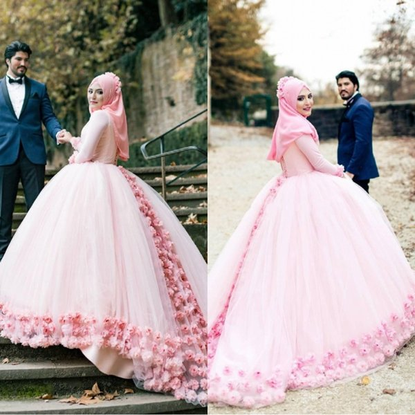 Cinderella Pink Ball Gown Muslim Wedding Dresses High Neck Long Sleeves Tulle Flowers Lace Back Bandage Muslim Bridal Dresses