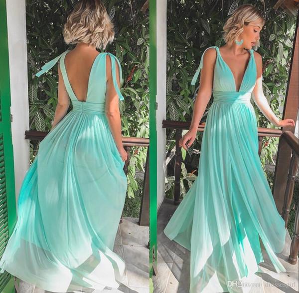 Simple Sage chiffon country a Line Bridesmaid Dresses Sexy V Neck Side Split Beach Wedding Guest dress cheap 2019