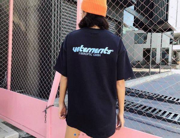 Vetements Logo azul camiseta impresa de lujo de color sólido de la vendimia de manga corta hombres mujeres Casual Hip Hop Street Skateboard camiseta top
