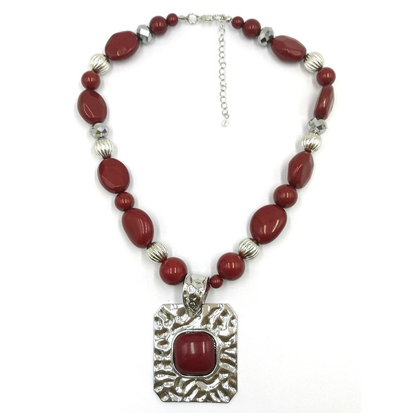 Irregular Beads Red acrylic stone pendant Necklace 46CM Length Fashion personality square stone necklace