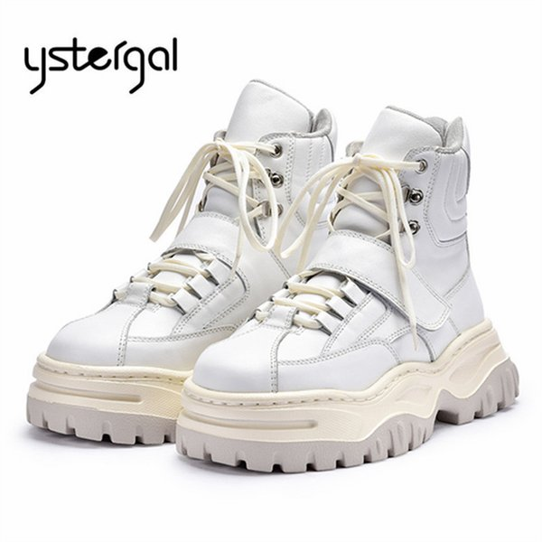Ystergal White Women Ankle Boots Female Lace Up Sneakers Platform Creepers Martin Boots Ladies Flat Shoes Woman Rubber