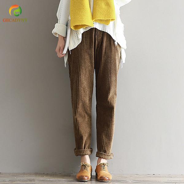 Plus Size S-3xl 2019 Pantalones de Pana de Otoño Invierno Moda Vintage Pantalones Rectos Pantalones Harem Cintura Elástica Casual Q1904020