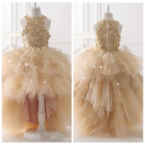Sweety Champagne Hi-lo 2019 Ball Gown Flower Girls Dresse Jewel 3D-Floral Appliques Tulle Tiered Skirts Birthday Party Communion Dresses