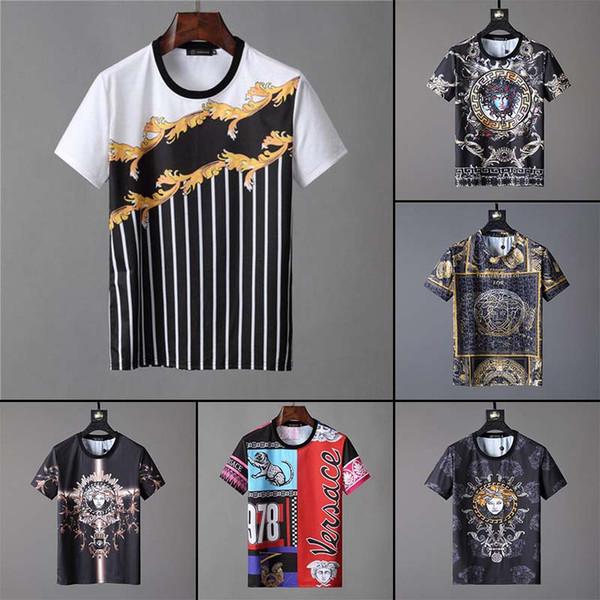 Nuevo verano camiseta corta de los hombres diseñador de la marca famosa para hombre camiseta de algodón de alta calidad de los hombres de moda desgaste fresco camiseta e4