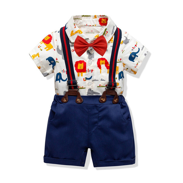 INS Kids Boys Casual Suits Summer Gentleman Tatting Cotton Cartoon Lion Romper+Bow Tie+Belt +Pants 4pcs Set Children Kids Boys Clothing Sets