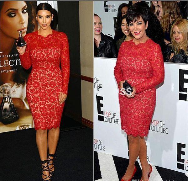 Elegante Rendas Vermelhas Kim Kardashian Vestidos 2019 Na Altura Do Joelho Manga Comprida Formal Vestidos de Noite Jewel Zipper Curto Árabe Vermelho Tapete Vestido de Baile