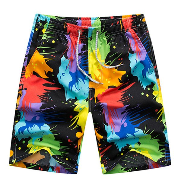 Pantaloncini da uomo casual con stampa elastica in vita da uomo Pantaloncini da spiaggia casual da uomo ad asciugatura rapida Estate Estate
