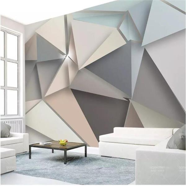 Großhandel Benutzerdefinierte Größe 3d Fototapete Wohnzimmer Wandbild  Dreieck Grafische 3d Bild Malerei Sofa TV Hintergrund Wand Tapete Vlies ...
