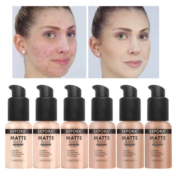 SEPORA Makeup Foundation Matte Liquid Foundation New Beauty LongWearing Waterproof Makeup Base Cosmetic Natural Concealer Foundation