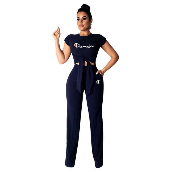 Champions Letter Tracksuit Women Bow Tie T-Shirts Wide Leg Loose Pants 2 piece Suits Outfit Sport Yoga Gym Clothes Set New A3147