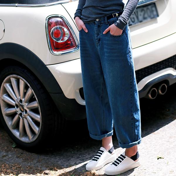 N3009 Pantalones vaqueros de nueve centavos de algodón puro de gran tamaño, pierna ancha blanca, pierna ancha, blanco
