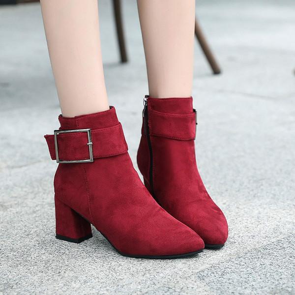 Stiefel mit hohen Absätzen Frauen Herbst Winter 2018 neue Damenmode bequeme Stiefel mit hohen Absätzen einfache spitze flache Schuhe k67