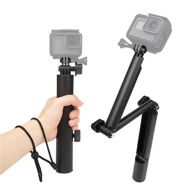 Selfie Stick 3-Way Handheld Monopod Stand Mini Tripod Foldable Mount Holder Grip Arm 180 Degree Swivel Head for GoPro Hero7 6 5
