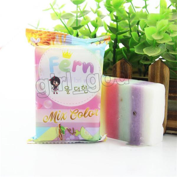 Samambaia branca mais sabão Misturar cor Sabão arco-íris com cheiro a fruta Sabão facial feito à mão Frete Grátis ..