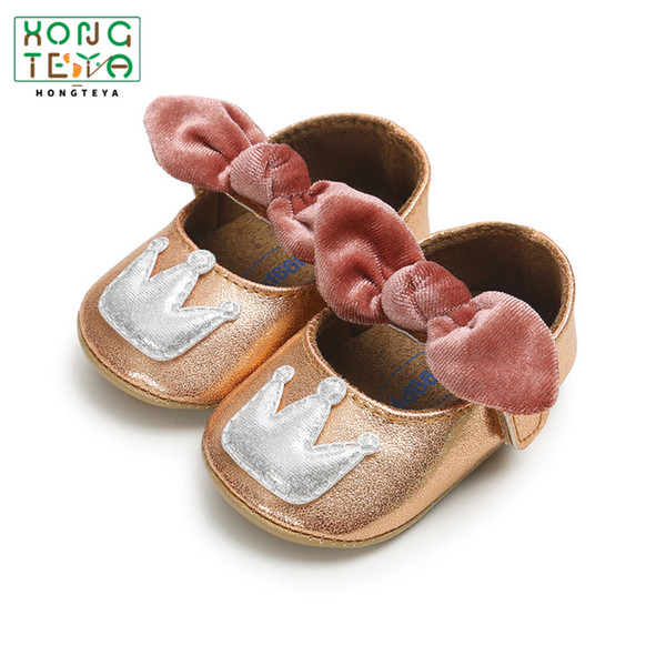 Fashion Baby Girl shoes flock Bow-knot Hard Sole toddler moccasins Anti-slip Shoes Princess First Walkers mary jane