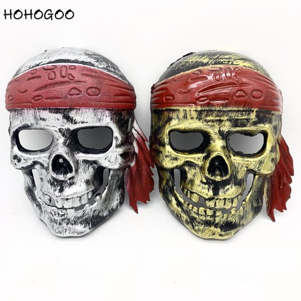 HOHOGOO 1PC Pirate Skull Halloween Mask Plastic Cosplay Costume Halloween Party Supplies Mask For Anonymous Carnival