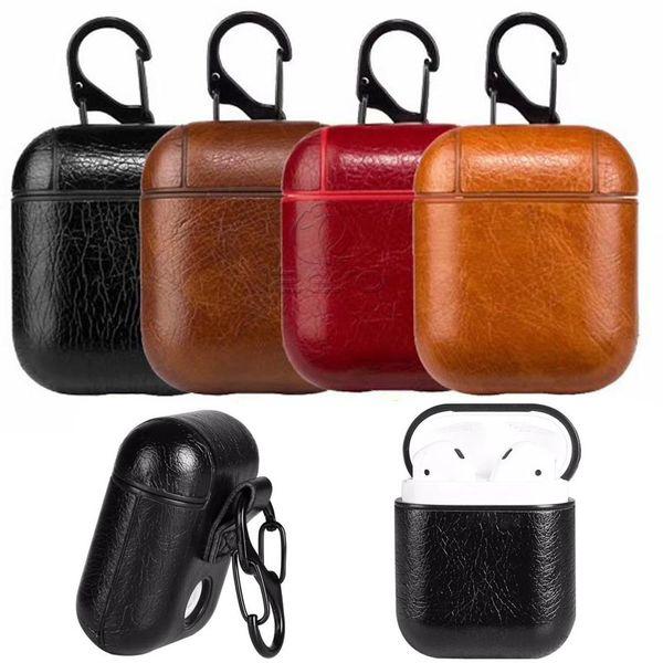 2019 Custodia Airpods in pelle 4 colori per Apple Airpods Custodia protettiva in PU Fashion Anti perso Catenaccio portachiavi per Airpod Custodia per auricolari M023F