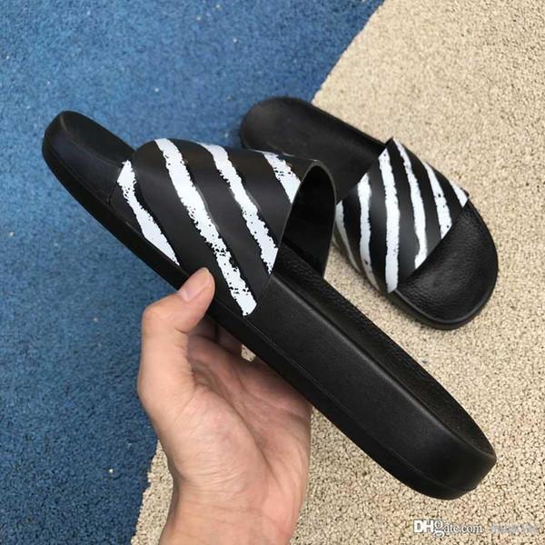 top popular 2019 Fashion Luxury off Designer flip flops brand shoes for mens platform sandals white slippers slides New Arrival Men loafers size 5-10 2019