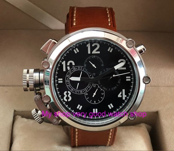 50mm  black dial Left hand type Automatic Self-Wind movement multi-function luminous Men's watches pa64-p8